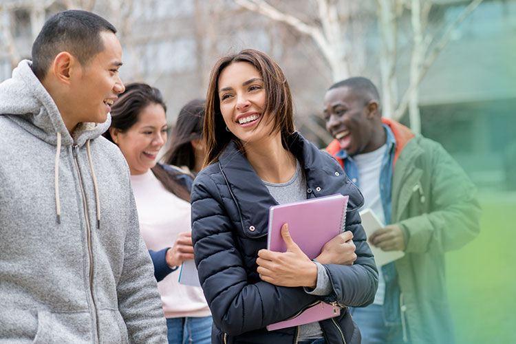 associates degree in nursing students walking to classes